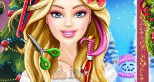Zwariowana fryzura świątecznej Barbie