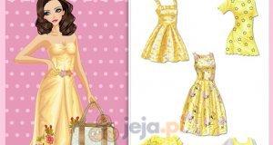 Żółte sukienki w kwiaty