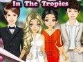Młoda para i świadkowie w tropikach