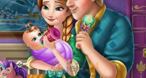 Anna i Kristoff karmią dziecko