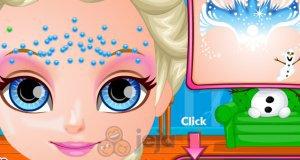 Mała Barbie i malunek z Krainy lodu