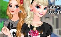 Anna i Elsa w Disneylandzie