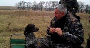 Rosyjski pies wytrenowany do przynoszenia wódki