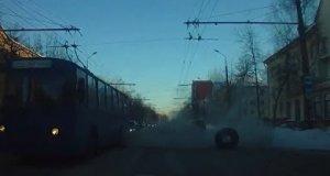 Wybuchowa opona z trolejbusu