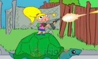 Dziewczynka na żółwiu