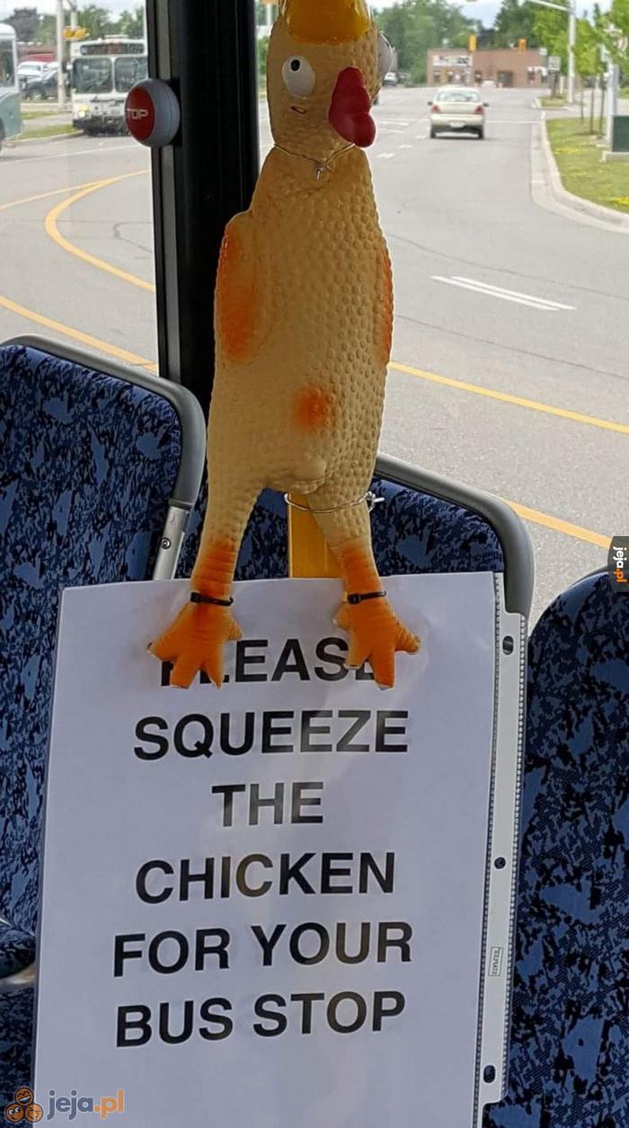 Proszę nacisnąć kurczaka, żeby zatrzymać autobus