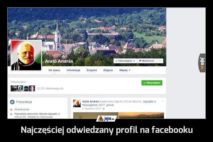 Najczęściej odwiedzany profil na facebooku