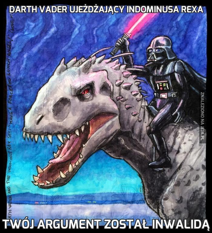 Darth Vader ujeżdżający Indominusa Rexa