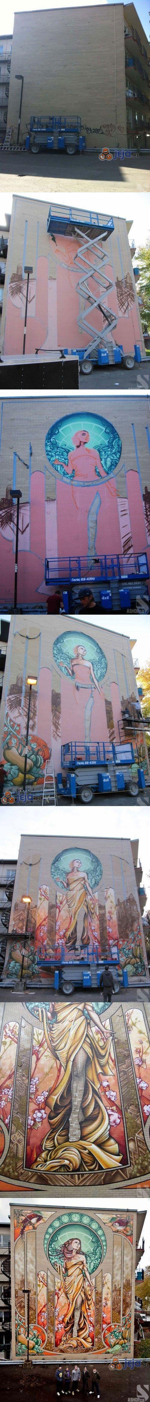 Piękne dzieło na ścianie budynku
