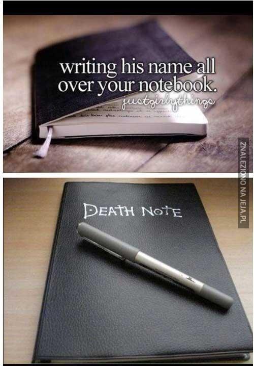 Imiona znajomych w notesie