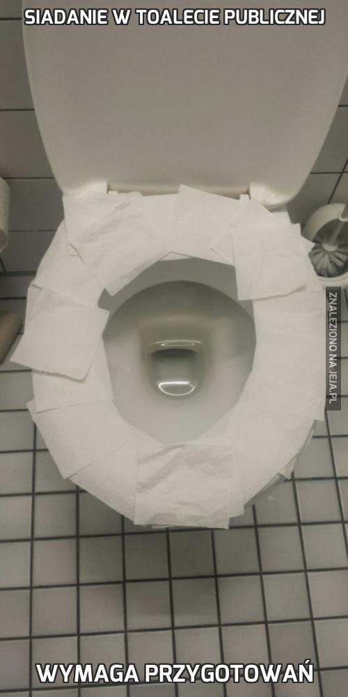 Siadanie w toalecie publicznej