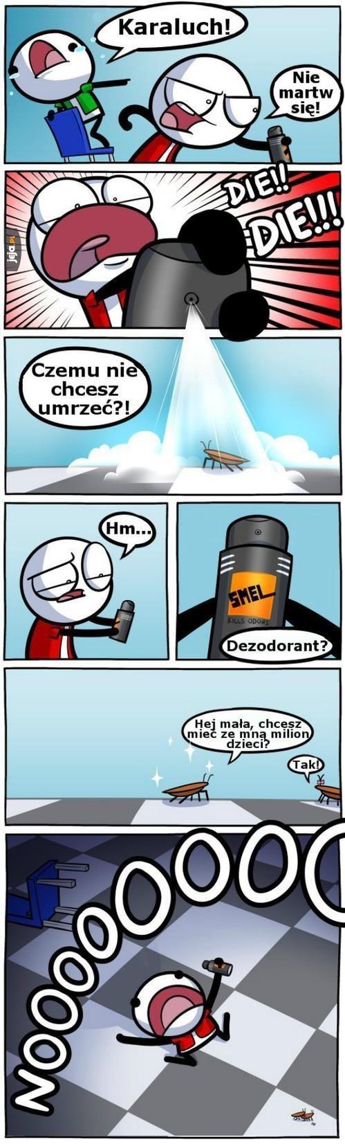 Nie myl dezodorantu ze sprejem na robaki