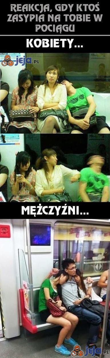 Reakcja, gdy ktoś zasypia na Tobie w pociągu...