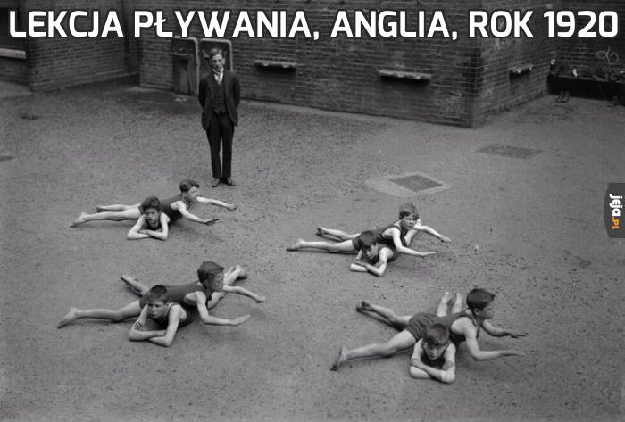 Lekcja pływania, Anglia, rok 1920