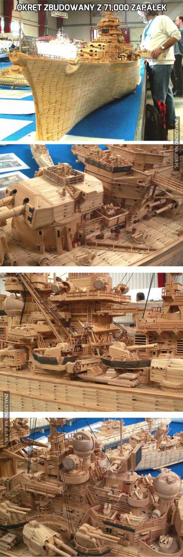 Okręt zbudowany z 71,000 zapałek