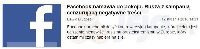 Facebook namawia do pokoju