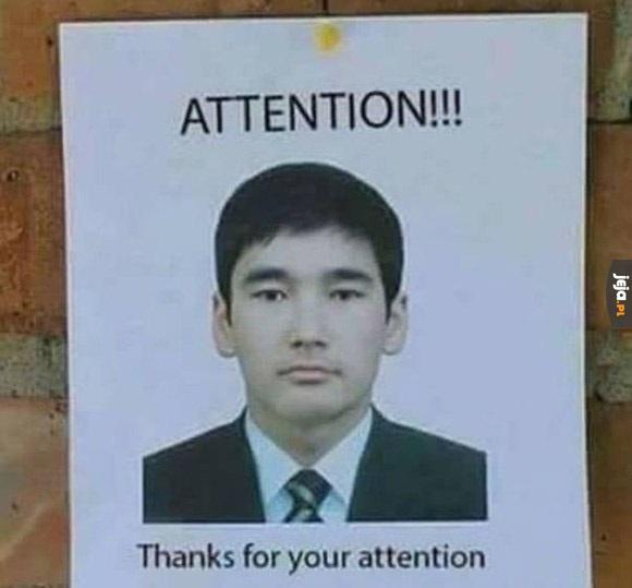 Uwaga! Dziękuję
