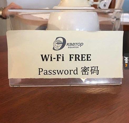 Przepraszam, jakie jest hasło do Wi-Fi?