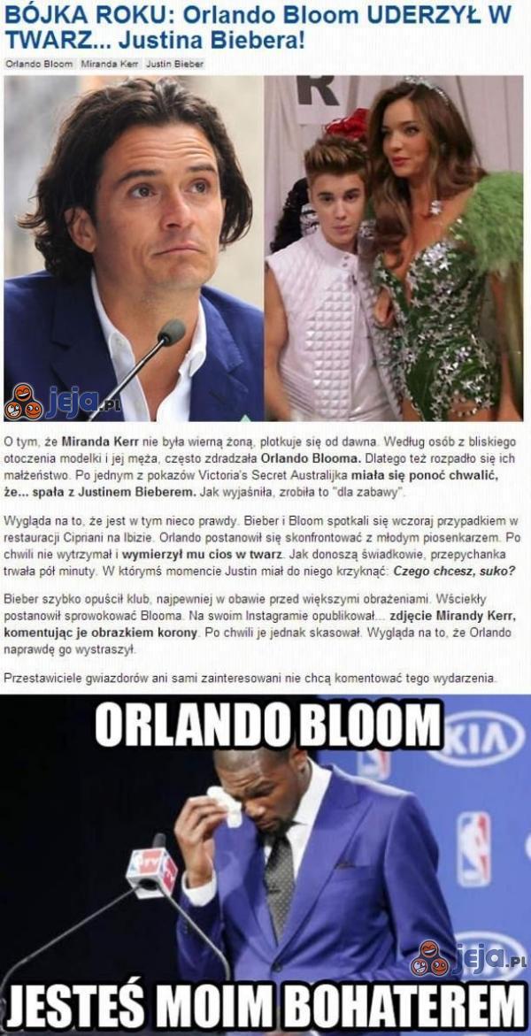 Orlando Bloom uderzył w twarz Justina Biebera