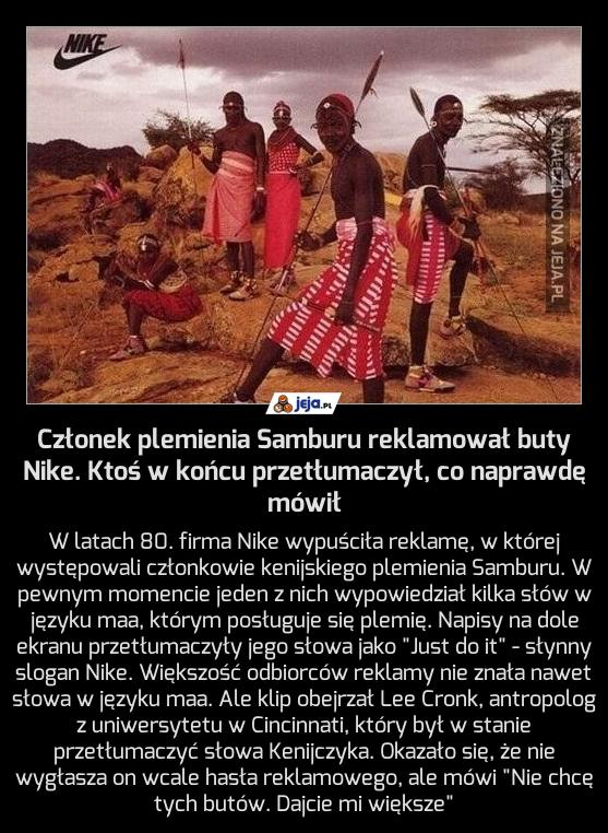 Członek plemienia Samburu reklamował buty Nike. Ktoś w końcu przetłumaczył, co naprawdę mówił