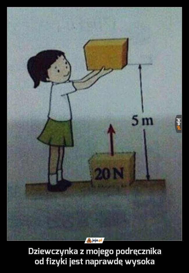 Dziewczynka z mojego podręcznika od fizyki jest naprawdę wysoka
