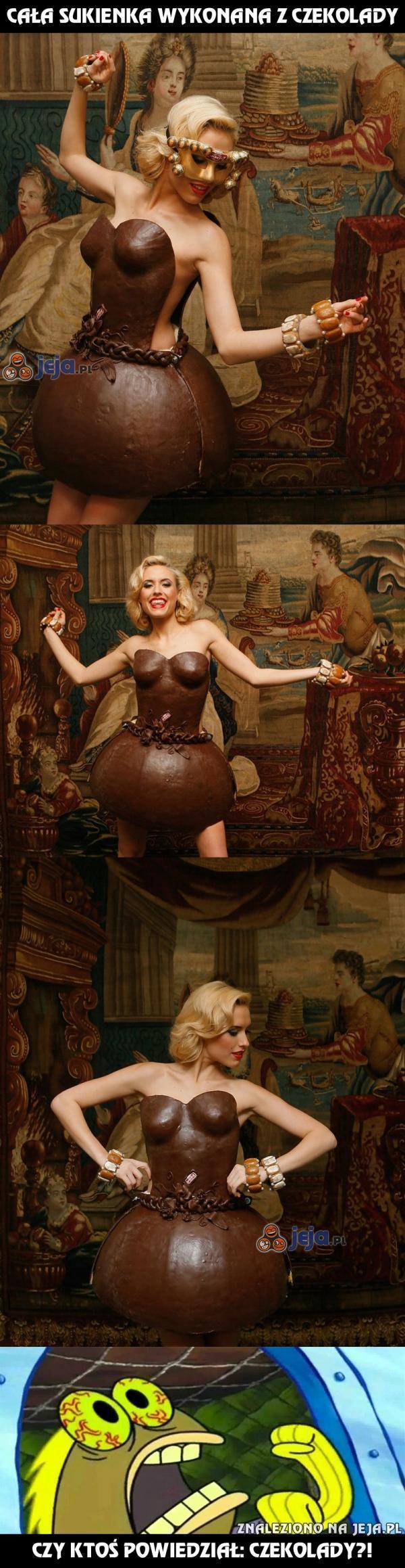 Cała sukienka wykonana z czekolady