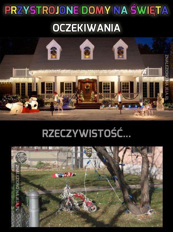 Przystrojone domy na święta