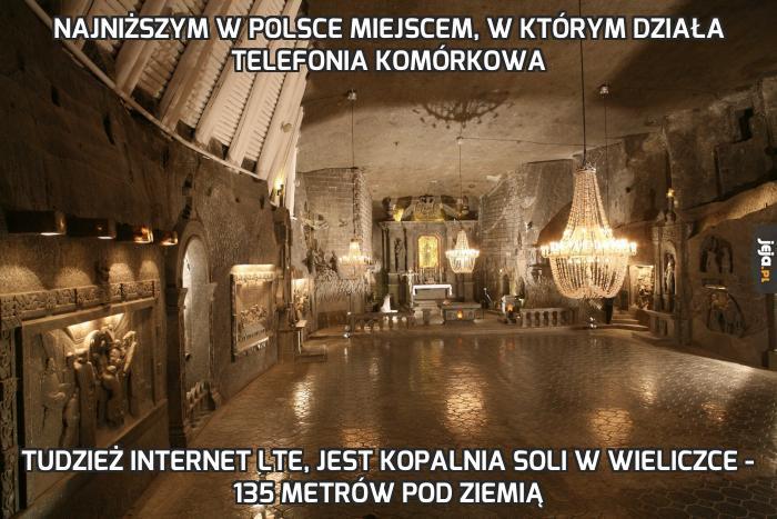 Najniższym w Polsce miejscem, w którym działa telefonia komórkowa
