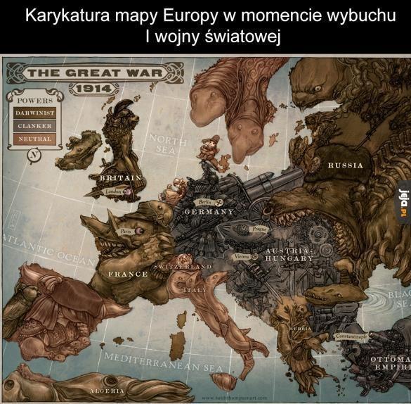 Karykatura mapy w momencie wybuchu I WŚ