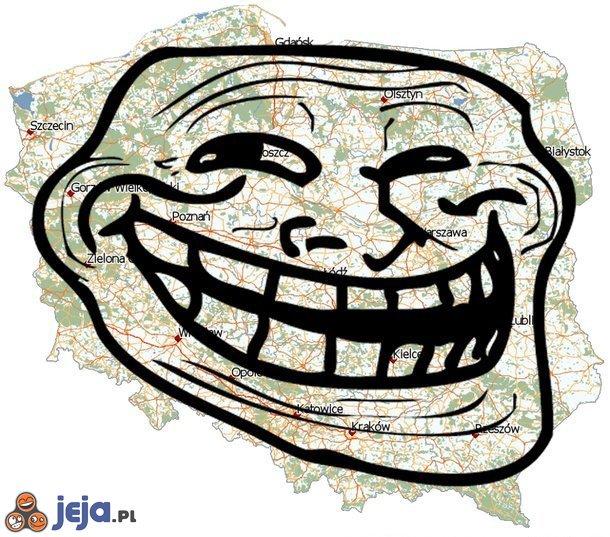 Mapa Polski - trollface