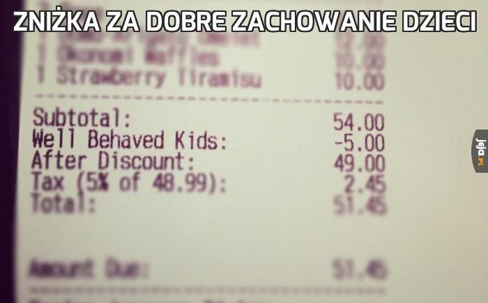Zniżka za dobre zachowanie dzieci