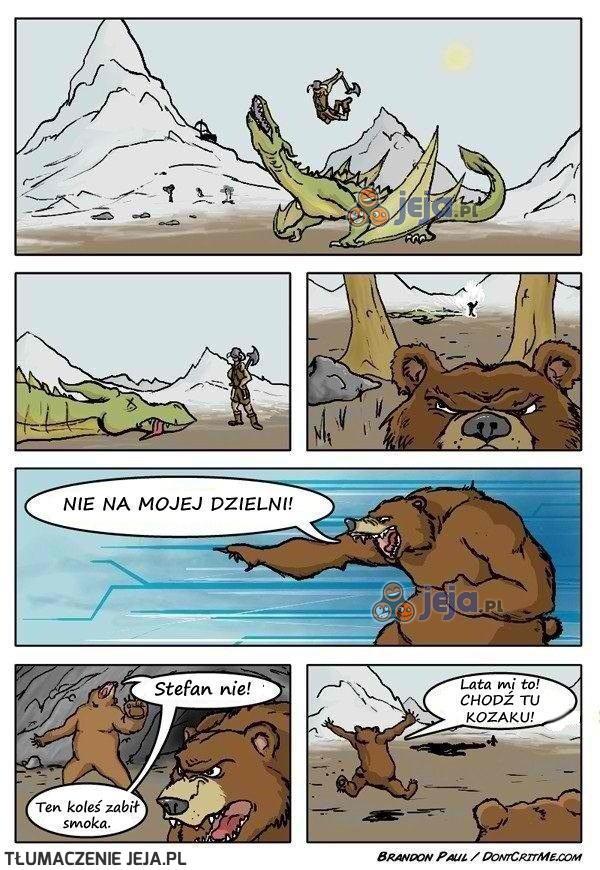 Niedźwiedź ze Skyrima nikogo się nie boi