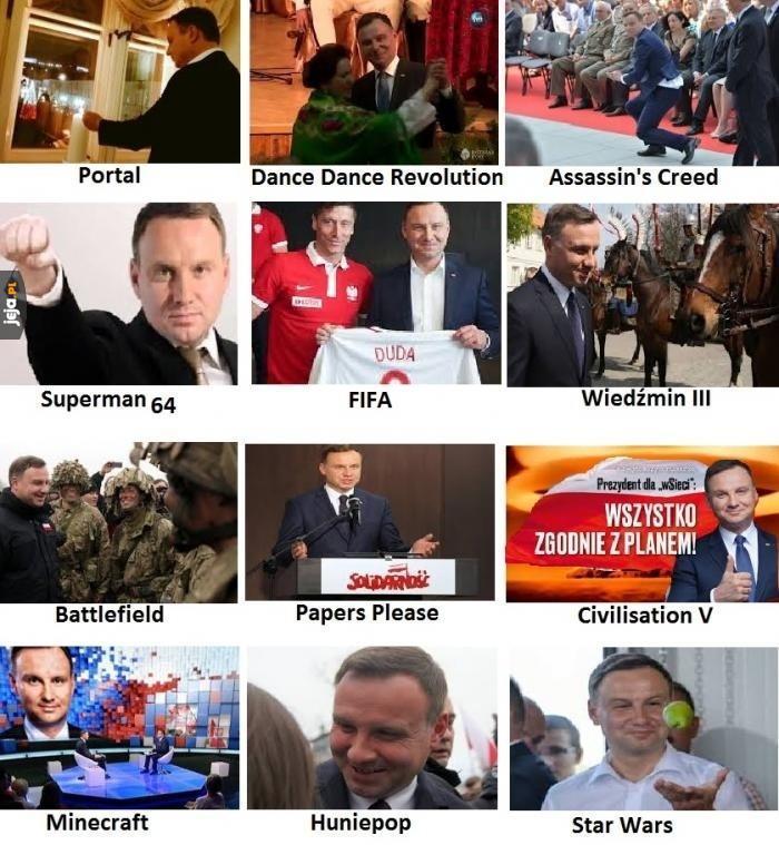 Andrzej Duda w znanych grach