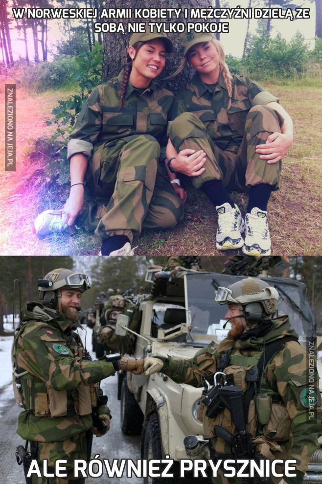 W norweskiej armii kobiety i mężczyźni dzielą ze sobą nie tylko pokoje