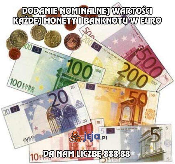 Dodanie każdej monety i banknotu w Euro da magiczną liczbę