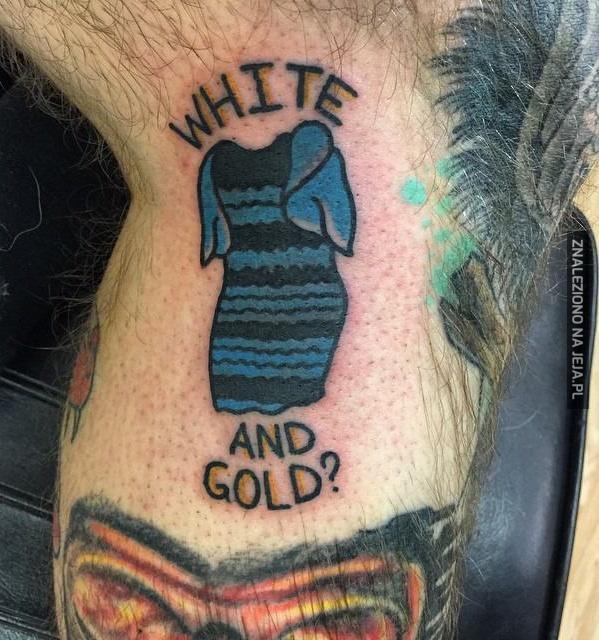 Biało złoty tatuaż