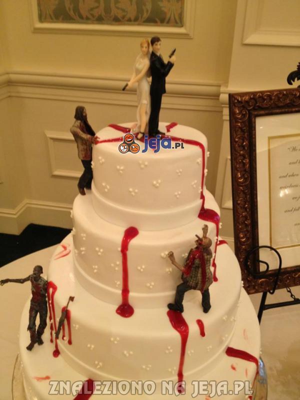 Tort weselny dla fanów zombie