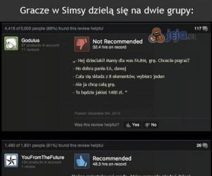 Gracze w Simsy dzielą się na dwie grupy