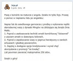 Bóg na maturze z języka angielskiego - z FanPage'a Jeja.pl
