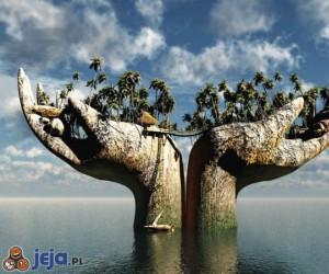 Niesamowity posąg w wodzie