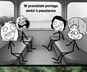 W przedziale pociągu siedzi 4 pasażerów