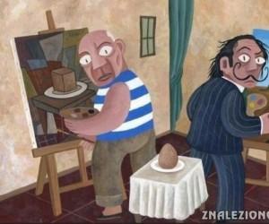 Jajko według Picassa i Dali
