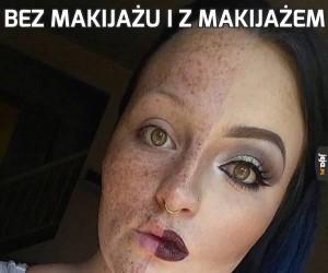 Bez makijażu i z makijażem