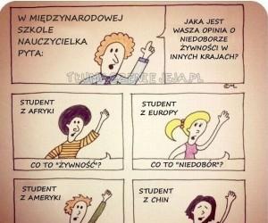 W międzynarodowej szkole nauczycielka pyta: