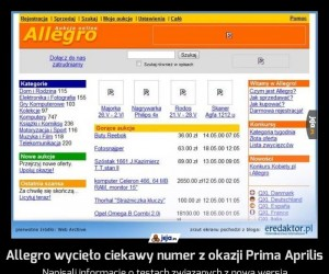 Allegro wycięło ciekawy numer z okazji Prima Aprilis
