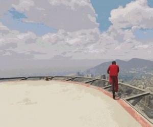 Skok na rowerze z drapacza chmur