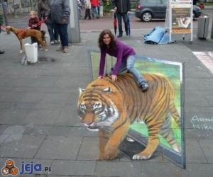 Iluzja na chodniku - Tygrys