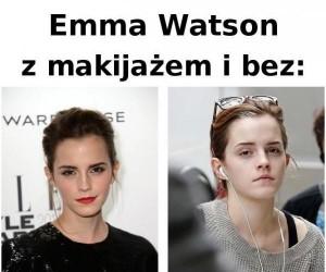 Emma Watson z makijażem i bez