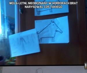 Mój 6-letni, nieobeznany w horrorach brat narysował coś takiego