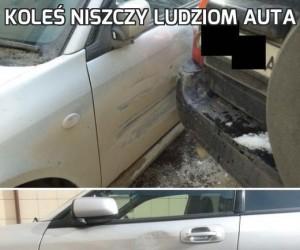 Koleś niszczy ludziom auta